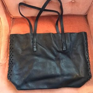 Black Zara Leather Tote with Black Studs on sides